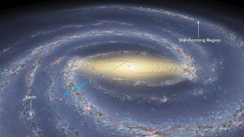 Artist's view of the Milky Way with the location of the Sun and the star forming region at the opposite side in the Scutum-Centaurus spiral arm. - Image Credit: Bill Saxton, NRAO/AUI/NSF; Robert Hurt, NASA