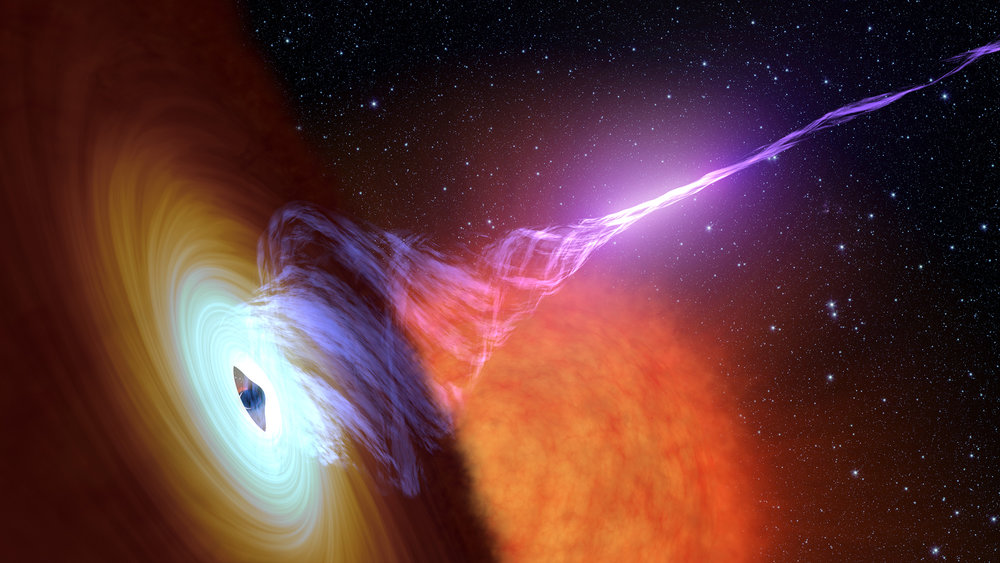 This artist's concept shows a black hole with an accretion disk -- a flat structure of material orbiting the black hole – and a jet of hot gas, called plasma. - Image Credits: NASA/JPL-Caltech