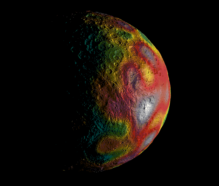 Gravity measurements of Ceres, which provided  hints about its internal structure. - Image Credit: NASA/JPL-Caltech/UCLA/MPS/DLR/IDA