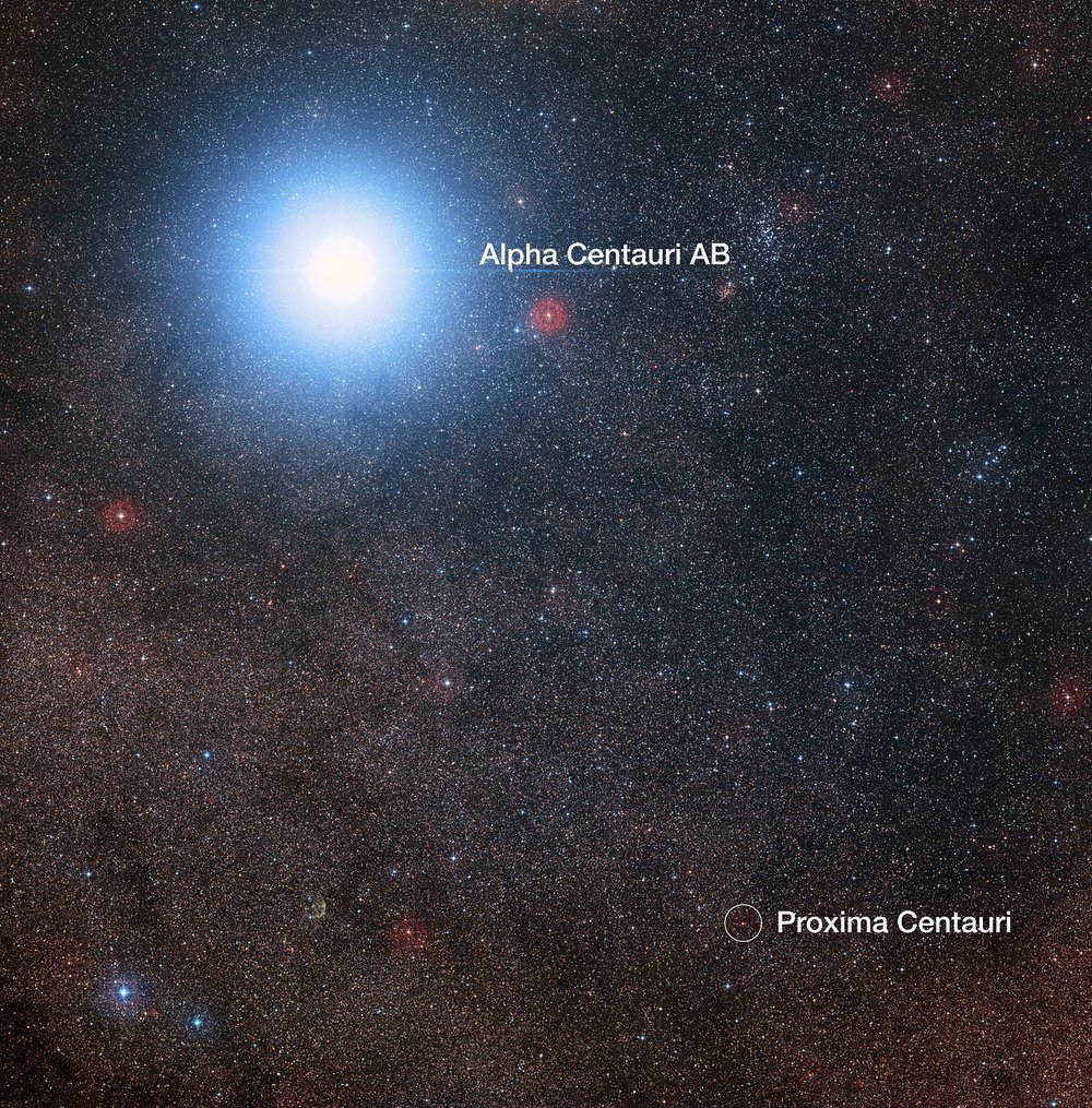 This image of the sky around the bright star Alpha Centauri AB also shows the much fainter red dwarf star, Proxima Centauri, the closest star to the Solar System. The picture was created from pictures forming part of the Digitized Sky Survey 2. The blue halo around Alpha Centauri AB is an artifact of the photographic process, the star is really pale yellow in colour like the Sun. Image Credit :  Digitized Sky Survey 2, Acknowledgement: Davide De Martin/Mahdi Zamani