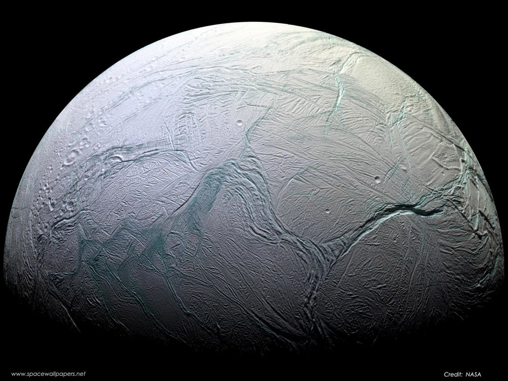 "The ""Tiger Stripes"" of Enceladus, as pictured by the Cassini space probe. - Image Credit: NASA/JPL/ESA"