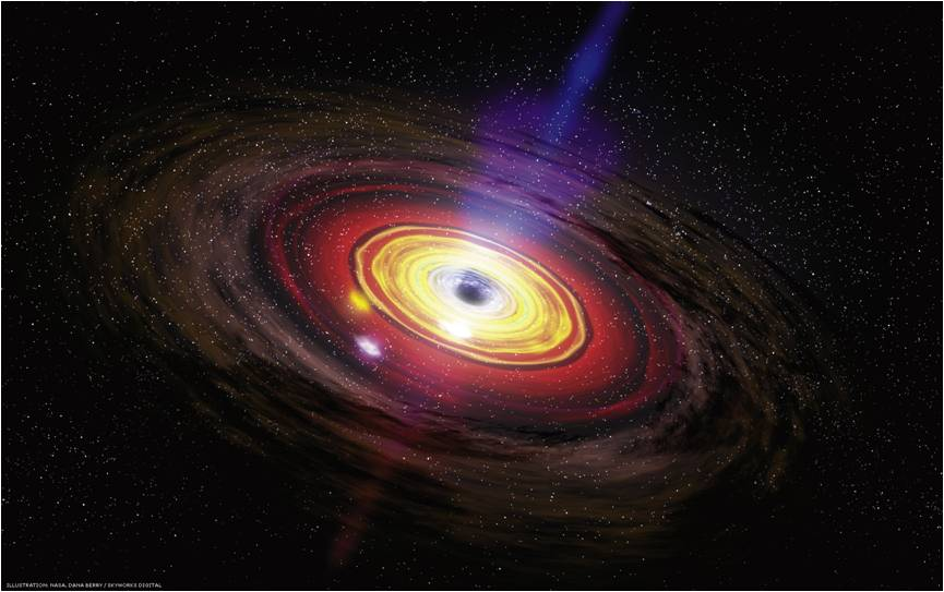 An artist's impression of the accretion disc around the supermassive black hole that powers an active galaxy. - Image Credit: NASA/Dana Berry, SkyWorks Digital