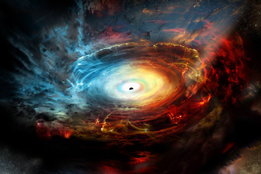 Illustration of the supermassive black hole at the center of the Milky Way. - Image Credit: NRAO/AUI/NSF
