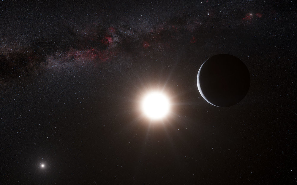 This artist's impression shows the planet orbiting the star Alpha Centauri B, a member of the triple star system that is the closest to Earth. - Image Credit: ESO