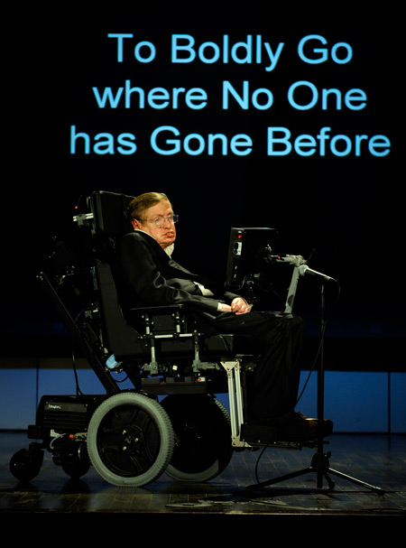 "Professor Stephen Hawking speaks about ""Why We Should Go into Space"" for the NASA Lecture Series, April 21, 2008. - Image Credit:  NASA/Paul Alers"