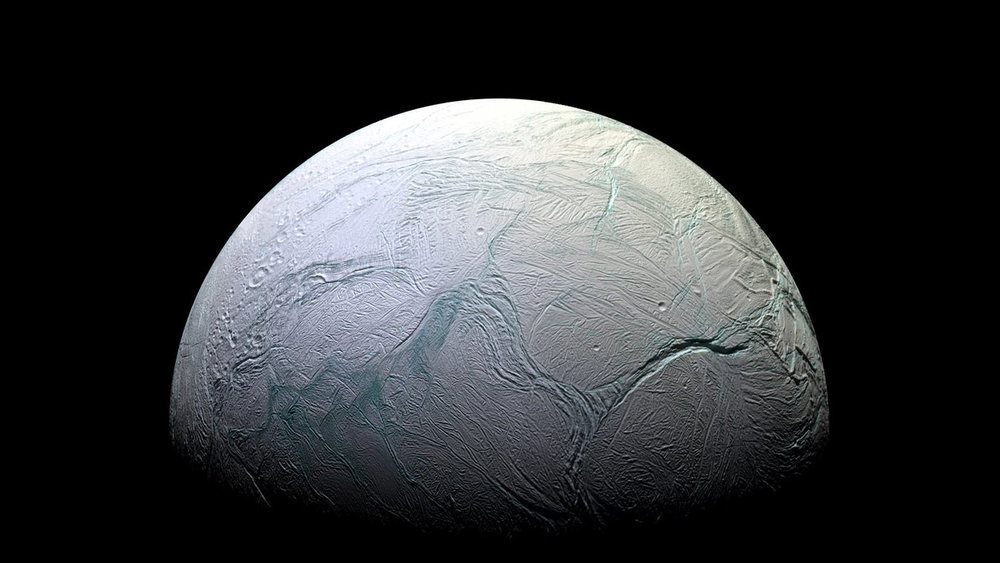 This view of Saturn's moon Enceladus was taken by NASA's Cassini spacecraft. On October 28, 2015, Cassini will make its closest pass directly through the plume jetting out of the moon's south pole - Image credit: NASA/JPL-Caltech