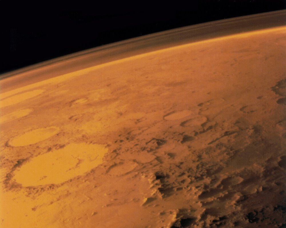 Image taken by the Viking 1 orbiter in June 1976, showing Mars thin atmosphere and dusty, red surface. - Image Credits: NASA/Viking 1