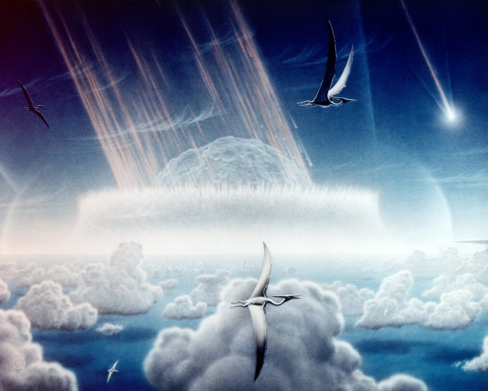Artistic rendition of the Chicxulub impactor striking ancient Earth, with Pterosaur observing. - Image Credit: NASA