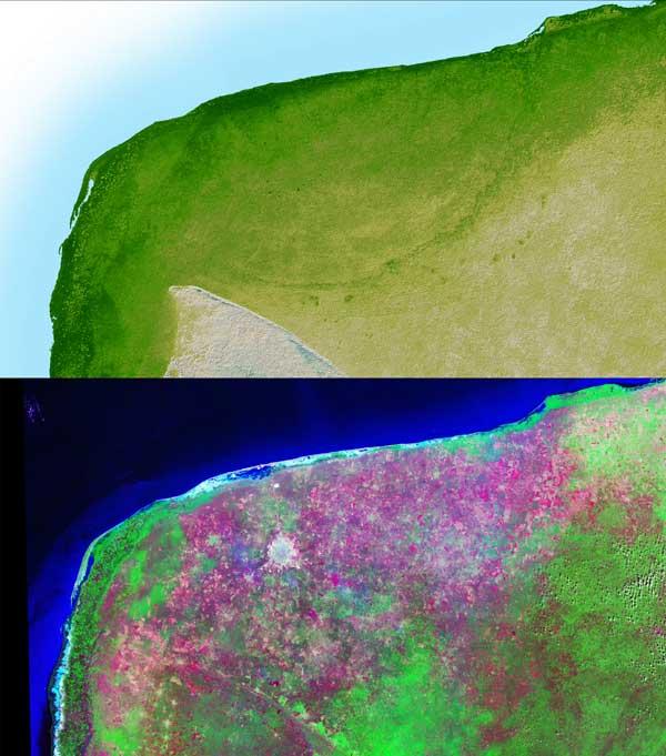 Satellite views of the Chicxulub impact site in the Yucutan Peninsula, southern Mexico. - Image Credit: NASA/JPL