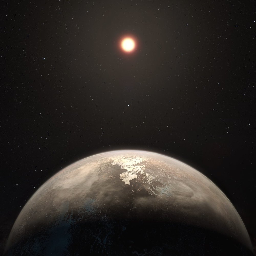 This artist's impression shows the temperate planet Ross 128 b, with its red dwarf parent star in the background. This planet, which lies only 11 light-years from Earth, was found by a team using ESO's unique planet-hunting HARPS instrument. The new world is now the second-closest temperate planet to be detected after Proxima b. It is also the closest planet to be discovered orbiting an inactive red dwarf star, which may increase the likelihood that this planet could potentially sustain life. Ross 128 b will be a prime target for ESO's Extremely Large Telescope, which will be able to search for biomarkers in the planet's atmosphere. - Image Credit: ESO/M. Kornmesser