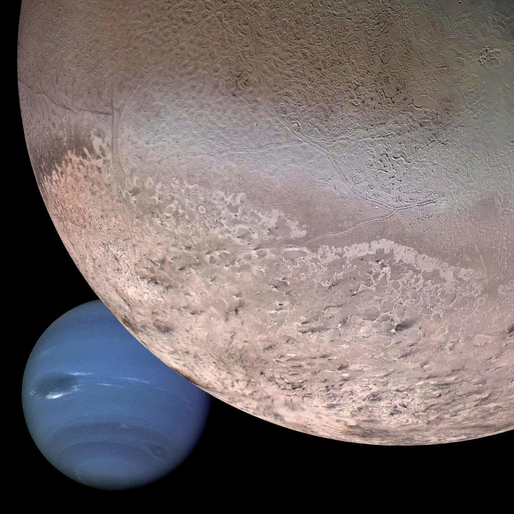 "Montage of Neptune's largest moon, Triton and the planet Neptune showing the moon's sublimating south polar cap (bottom) and enigmatic ""cantaloupe terrain"". - Image Credit: NASA"