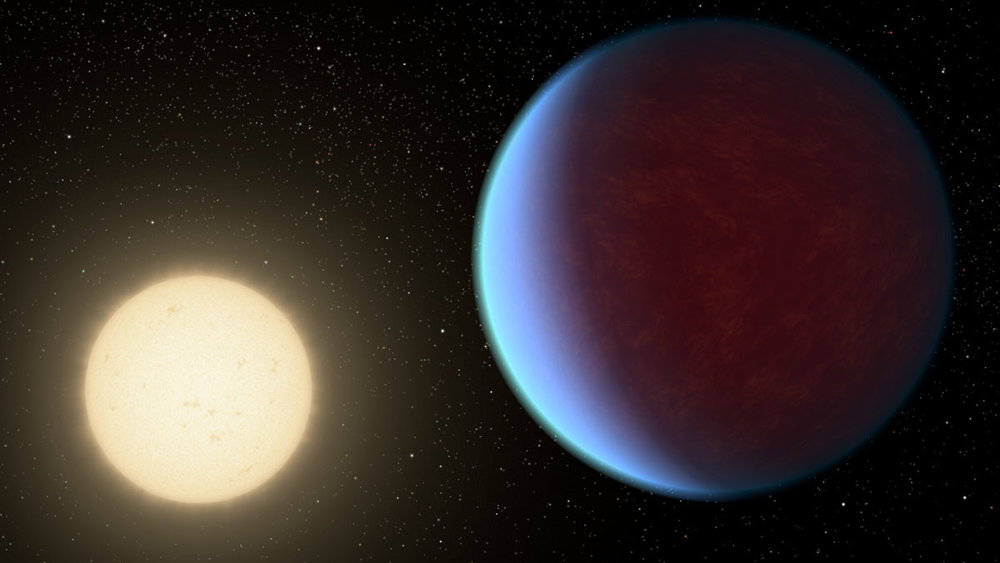 The super-Earth exoplanet 55 Cancri e, depicted with its star in this artist's concept, likely has an atmosphere thicker than Earth's but with ingredients that could be similar to those of Earth's atmosphere. - Image Credits: NASA/JPL-Caltech