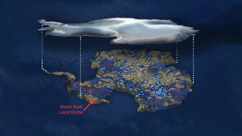"""Illustration of flowing water under the Antarctic ice sheet. Blue dots indicate lakes, lines show rivers. Marie Byrd Land is part of the bulging """"elbow"""" leading to the Antarctic Peninsula, left center. - Image Credit: NSF/Zina Deretsky"""