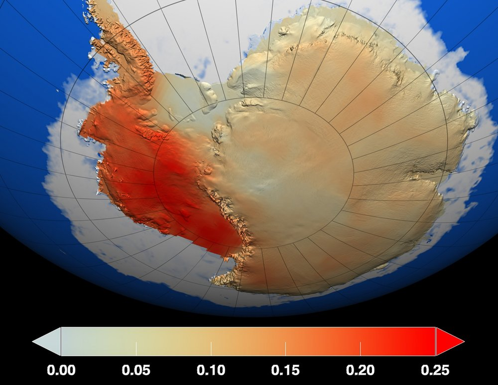 Temperature changes in the Antarctic ice sheet over the last 50 years, measured in degrees Celsius. - Image Credit: NASA/GSFC Scientific Visualization Studio