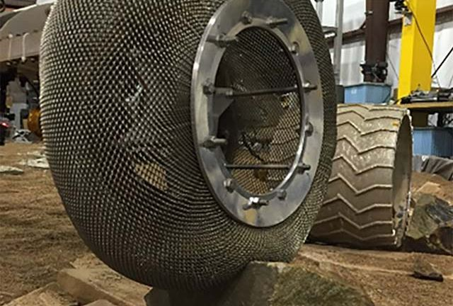 The Mars Spring Tire being tested at NASA GRS' Slope lab. - Image Credit: NASA/JPL