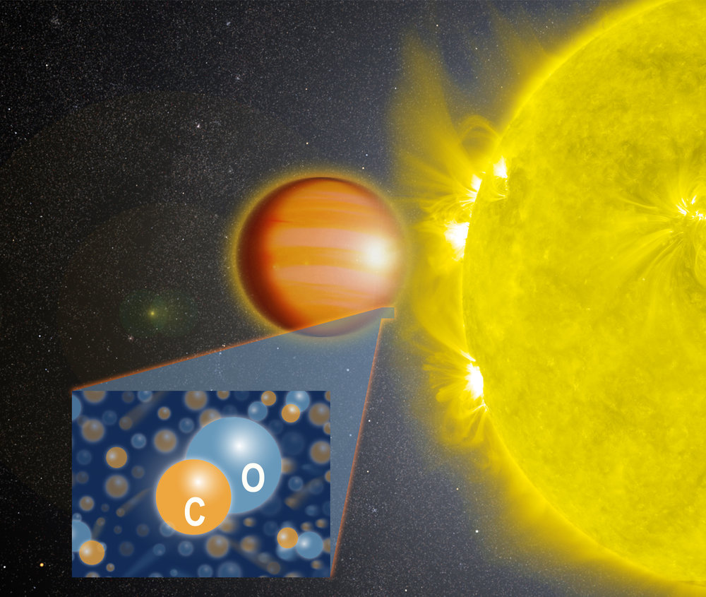 """A NASA-led team of scientists determined that WASP-18b, a """"hot Jupiter"""" located 325 light-years from Earth, has a stratosphere that's loaded with carbon monoxide, or CO, but has no signs of water. - Image Credit: NASA's Goddard Space Flight Center"""