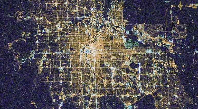 The city of Calgary, Alberta, as seen from space. - Image Credit: NASA