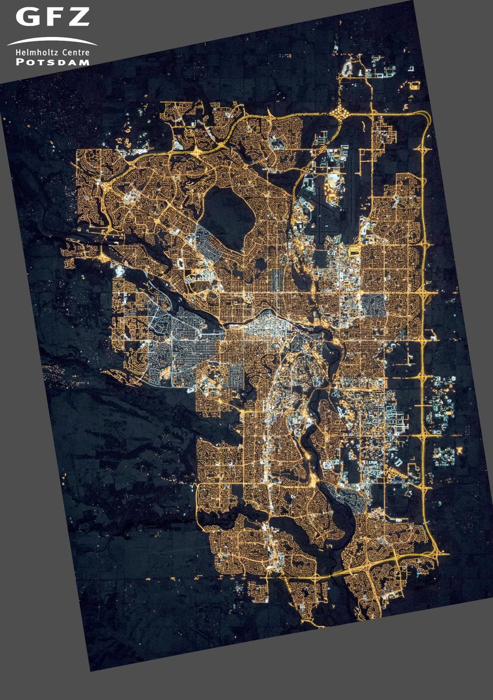 Photograph of Calgary, Alberta, Canada, taken from the International Space Station on Nov. 27th, 2015. - Image Credit: NASA's Earth Observatory/Kyba, GFZ