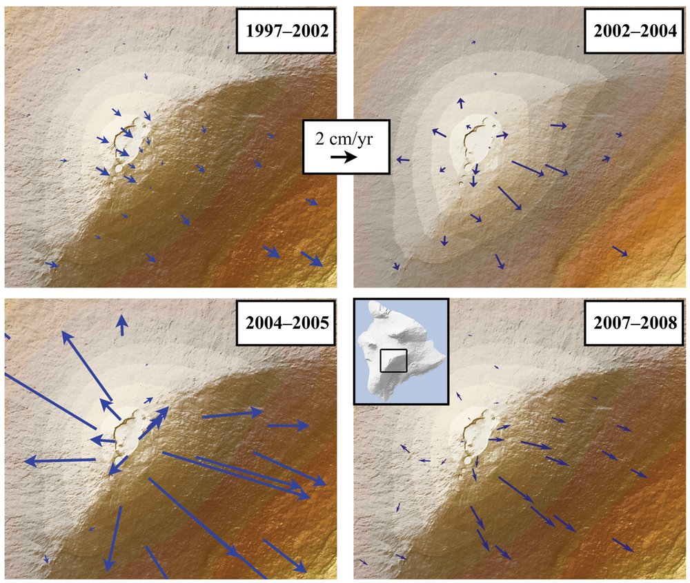 GPS measurements provide models of the direction and rate (length of arrow) of deformation at the summit of Mauna Loa, a potential eruption precursor. - Image Credit:USGS,CC BY