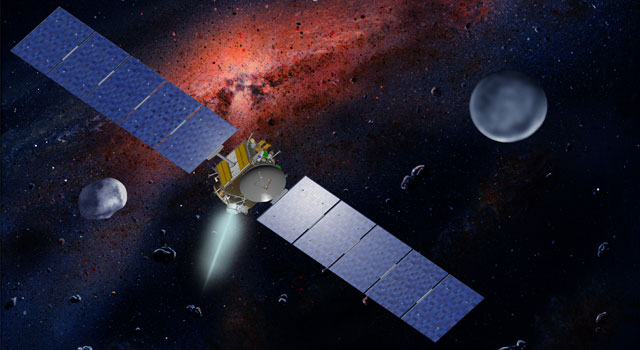 NASA's Dawn spacecraft, illustrated in this artist's concept, is propelled by ion engines. - Image credit: NASA/JPL