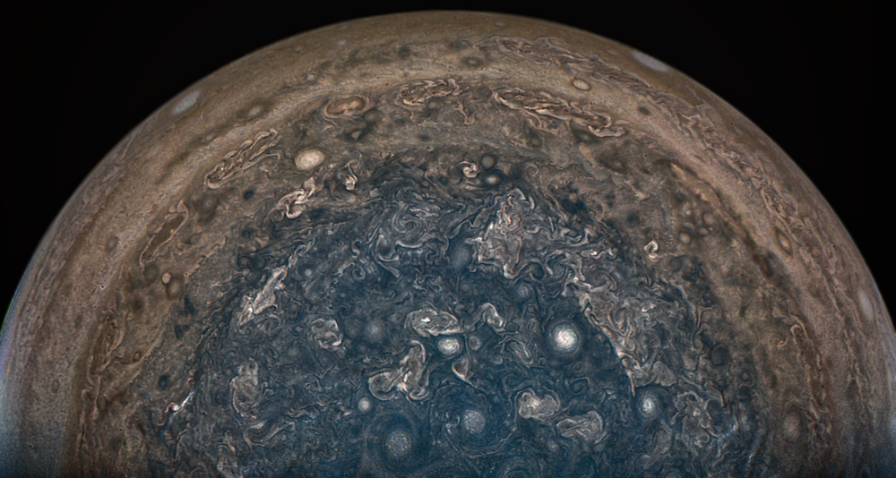Jupiter's south pole. captured by the JunoCam on Feb. 2, 2017, from an altitude of about 62,800 miles (101,000 kilometers) above the cloud tops. - Image Credits: NASA/JPL-Caltech/SwRI/MSSS/John Landino