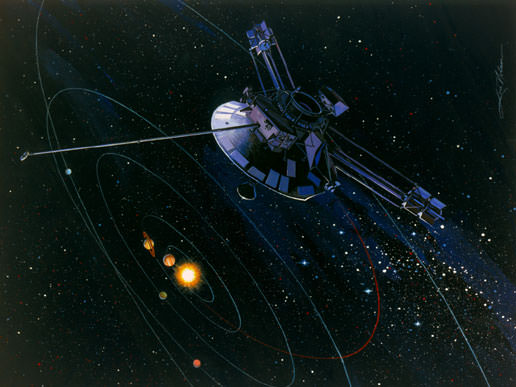 Artist's impression of the Pioneer 10 probe, launched in 1972 and now making its way out towards the star Aldebaran. - Image Credit: NASA