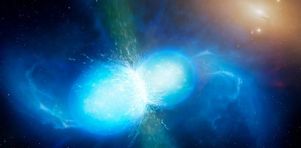 Artist s impression of merging neutron stars. - Image Credit University of Warwick/Mark Garlick,  CC BY-SA