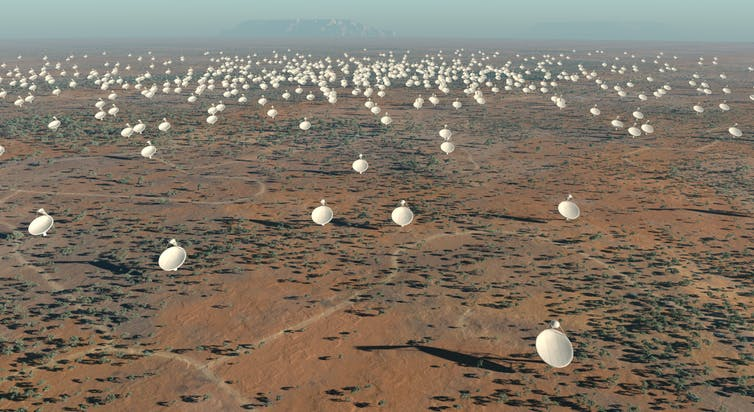 Artist's impression of the finished square kilometre array. - Image Credit: Swinburne Astronomy Productions for SKA Project Development Office, CC BY-SA