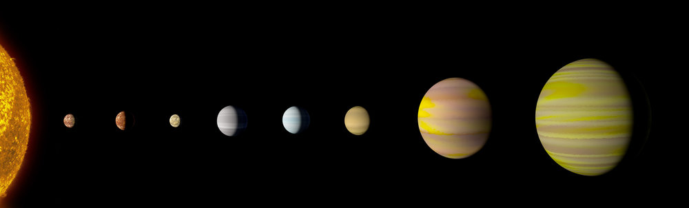 With the discovery of an eighth planet, the Kepler-90 system is the first to tie with our solar system in number of planets. - Image Credit: NASA/Wendy Stenzel