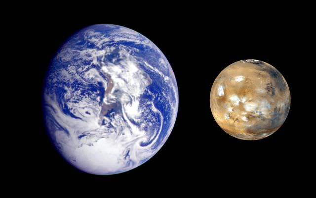 Composite image showing the size difference between Earth and Mars. - Image Credit: NASA/Mars Exploration