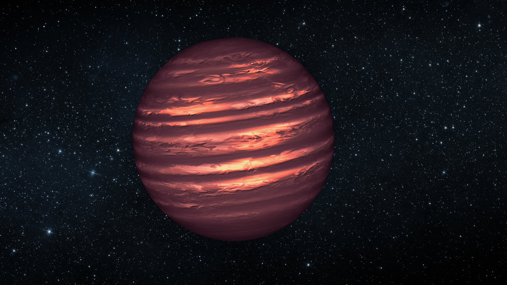 Artist's conception of a brown dwarf, featuring the cloudy atmosphere of a planet and the residual light of an almost-star. - Image Credit: NASA/ESA/JPL