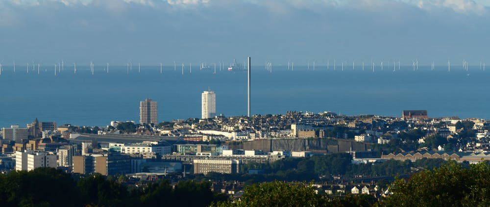 Rampion wind farm begins about 13km offshore from Brighton. - Image Credit: Dominic Alves / flickr , CC BY-SA