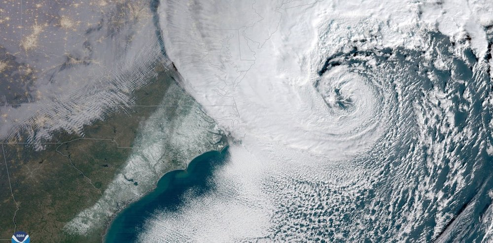 The storm intensified rapidly off the US east coast. - Image Credit: NOAA/EPA
