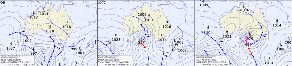 South Australian weather maps for September 27-29, 2016, showing the cyclone's rapid development before it made landfall.Bureau of Meteorology,Author provided