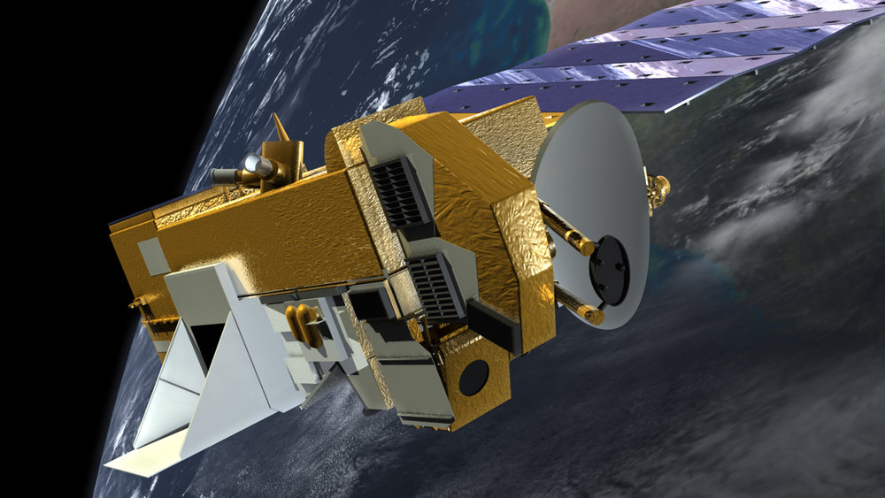 Artist's impression of the Aura satellite. - Image Credit: NASA