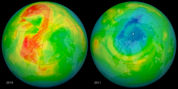 Images from the Ozone Monitoring Instrument (OMI) on NASA's Aura satellite showing ozone fluctuations between 2010 and 2011. - Image Credit: NASA/Rob Simmon