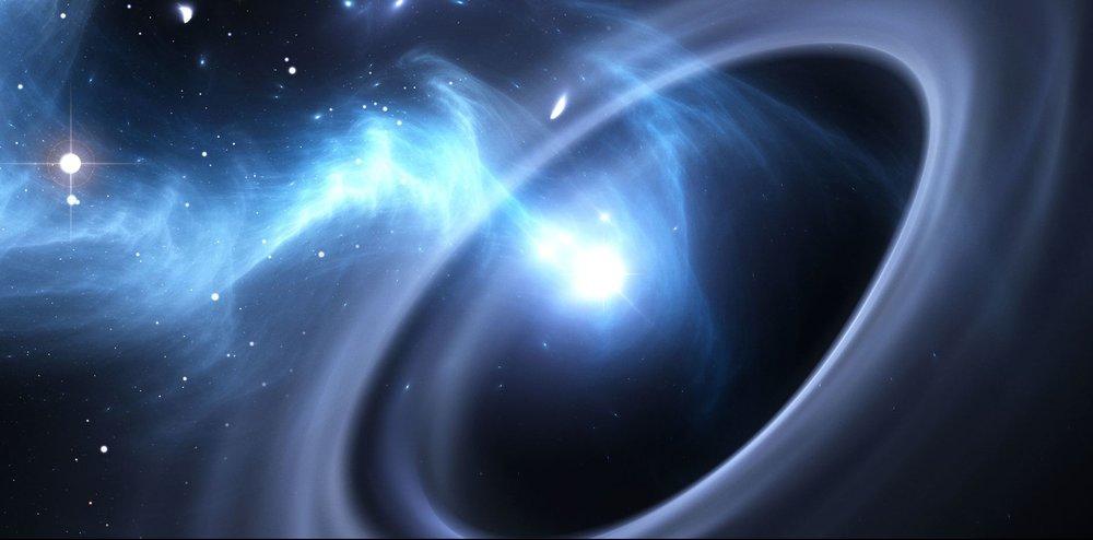Artist's impression of the relativistic jet emanating from a black hole. - Image Credit: Northwestern University
