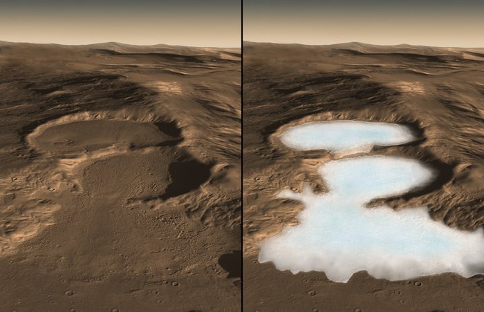 Artist's impression of glaciers that may have existed on the surface of Mars in the past. - Image Credit: NASA/Caltech/JPL/UTA/UA/MSSS/ESA/DLR Eric M. De Jong, Ali Safaeinili, Jason Craig, Mike Stetson, Koji Kuramura, John W. Holt