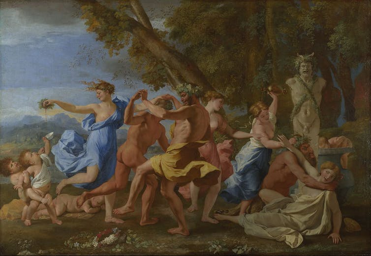 Some people pursue hedonism as a path to happiness. - Image Credit: Nicolas Poussin/Wikimedia Commons