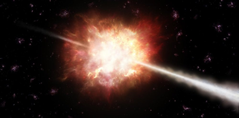 Illustration of a gamma ray burst in space. - Image Credit: ESO/A. Roquette, CC BY-SA