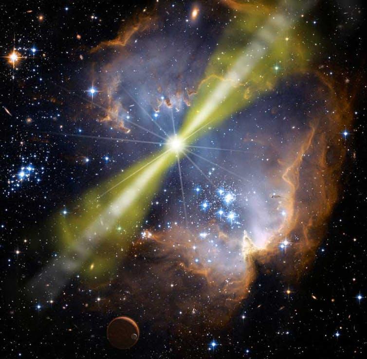 Artist impression of gamma ray burst. - Image Credit: NASA