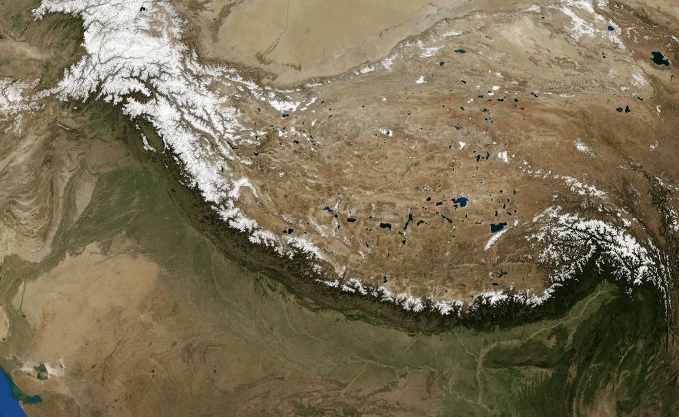 Satellite image of the Himalayan mountain chain, as imaged by NASA'sLandsat-7 imagery of Himalayas. - Image Credit: NASA