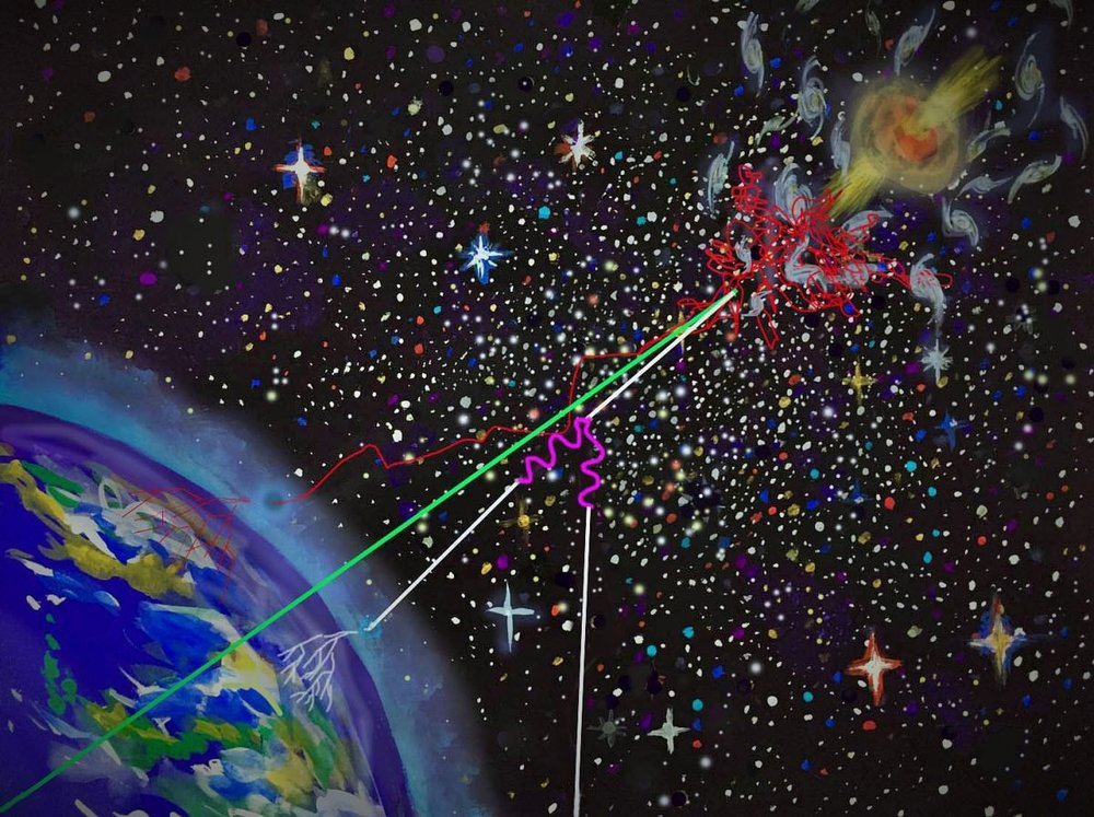 """An artist's interpretation of a """"multi messenger"""" emission from cosmic rays, accelerated by jets from a supermassive black hole.- Image Credit: Kanoko Horio"""