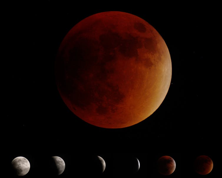 Image depicting the various phases of a lunar eclipse - Image Credit: Patrick Murtha/wikipedia,  CC BY-SA