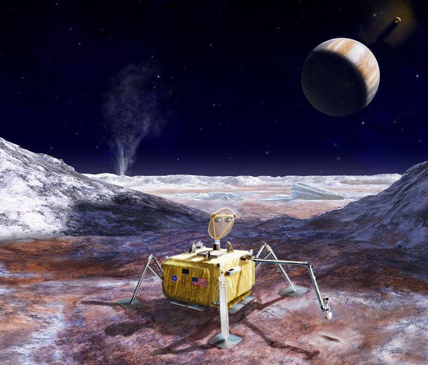 Artist's rendering of a possible Europa Lander mission, which would explore the surface of the icy moon in the coming decades. - Image Credit: NASA/JPL-Caltech