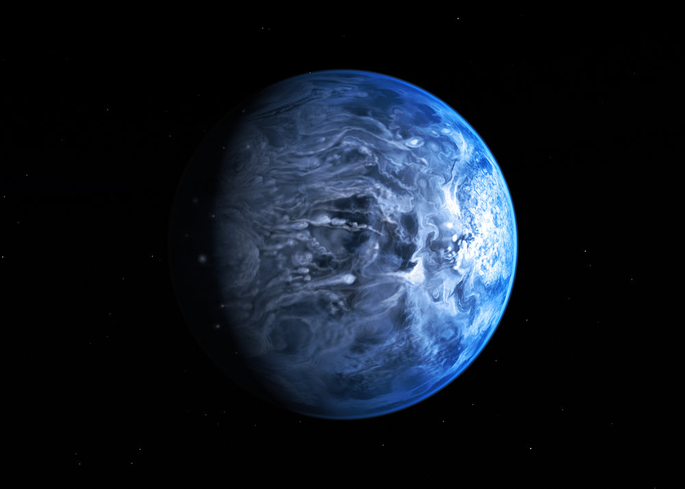 An artist's interpretation of HD 189733. It looks nice and blue, but it's actually a nightmare world that could be raining glass with 2 km/s winds. - Image Credit: ESO/M. Kornmesser