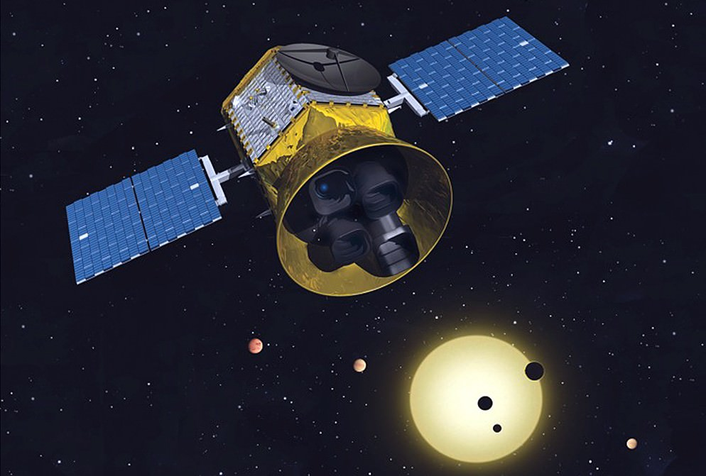 A conceptual image of the Transiting Exoplanet Survey Satellite. - Image Credit: MIT