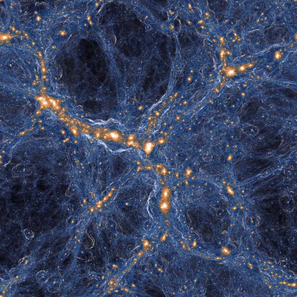Composite image (of the full TNG100-1 box) which overlays a projection of the dark matter density with the output of our on-the-fly cosmological shock finder, here used to derive the average mach number of shocks along each line of sight. All the gravitationally collapsed structures (in orange/white) are surrounded by successive shock surfaces (blue) which encode their formation histories.
