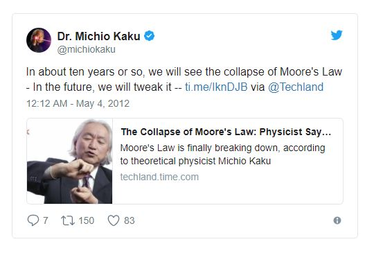 Source: Michio Kaku on  Twitter