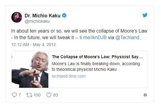 Source: Michio Kaku on  Twitter